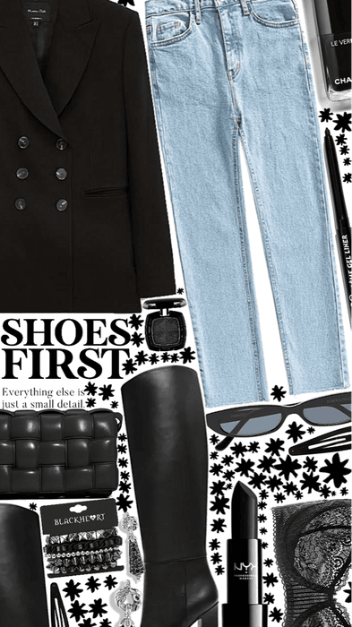 black knee high- shoes first