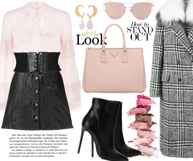 Pink Blouse & Tartan Coat.