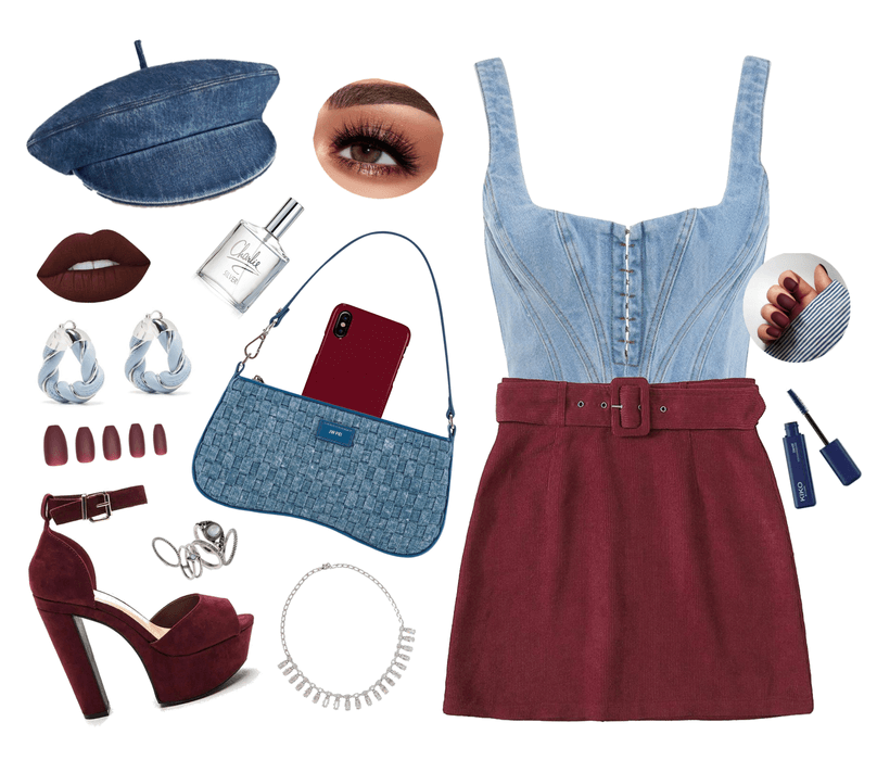 Burgundy, Blue And Silver