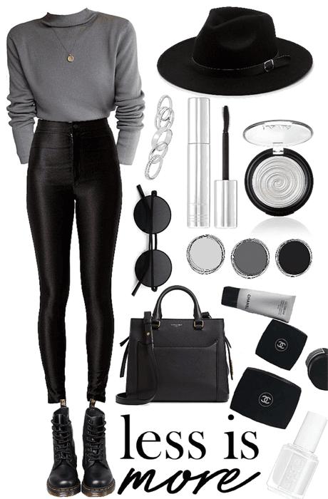 gray, black and white
